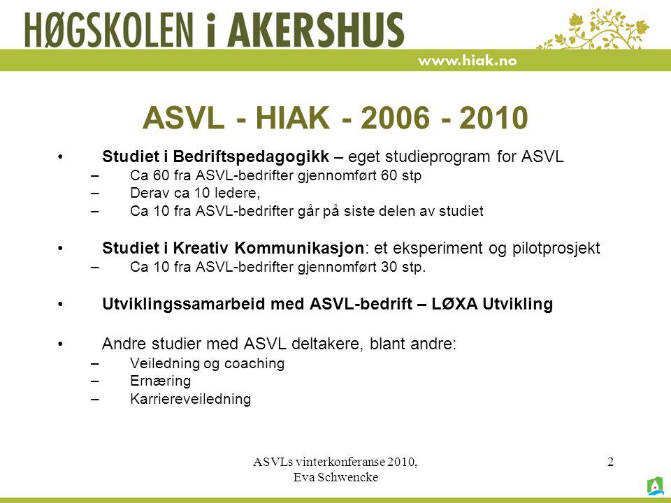 ASVLs vinterkonferanse 2010, Eva Schwencke 2 ASVL - HIAK - 2006 - 2010 •Studiet i Bedriftspedagogikk – eget studieprogram for ASVL –Ca 60 fra ASVL-bedrifter gjennomført 60 stp –Derav ca 10 ledere, –Ca 10 fra ASVL-bedrifter går på siste delen av studiet •Studiet i Kreativ Kommunikasjon: et eksperiment og pilotprosjekt –Ca 10 fra ASVL-bedrifter gjennomført 30 stp.
