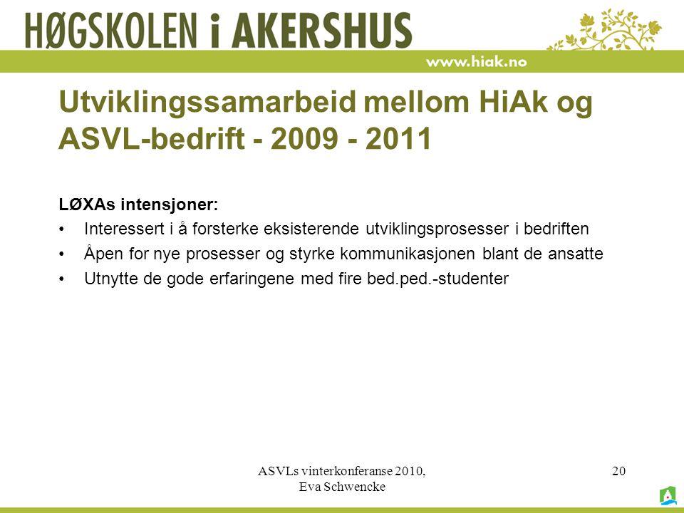ASVLs vinterkonferanse 2010, Eva Schwencke 20 Utviklingssamarbeid mellom HiAk og ASVL-bedrift - 2009 - 2011 LØXAs intensjoner: •Interessert i å forsterke eksisterende utviklingsprosesser i bedriften •Åpen for nye prosesser og styrke kommunikasjonen blant de ansatte •Utnytte de gode erfaringene med fire bed.ped.-studenter