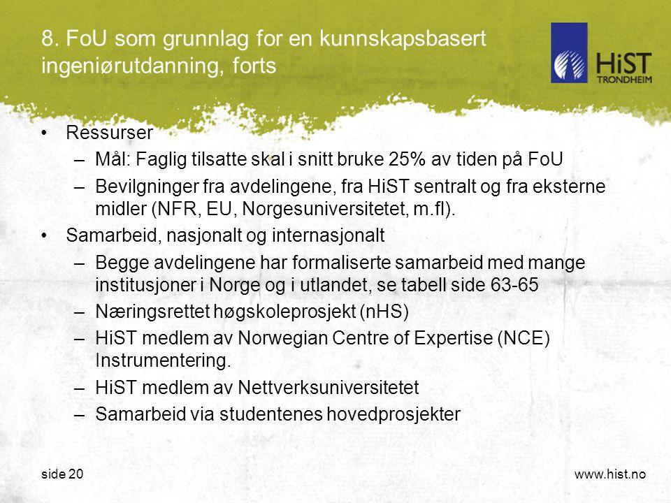 www.hist.noside 20 8. FoU som grunnlag for en kunnskapsbasert ingeniørutdanning, forts •Ressurser –Mål: Faglig tilsatte skal i snitt bruke 25% av tide