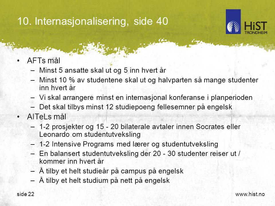 www.hist.noside 22 10. Internasjonalisering, side 40 •AFTs mål –Minst 5 ansatte skal ut og 5 inn hvert år –Minst 10 % av studentene skal ut og halvpar