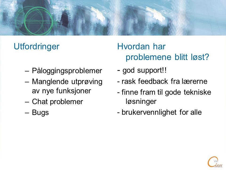 Utfordringer –Påloggingsproblemer –Manglende utprøving av nye funksjoner –Chat problemer –Bugs Hvordan har problemene blitt løst.