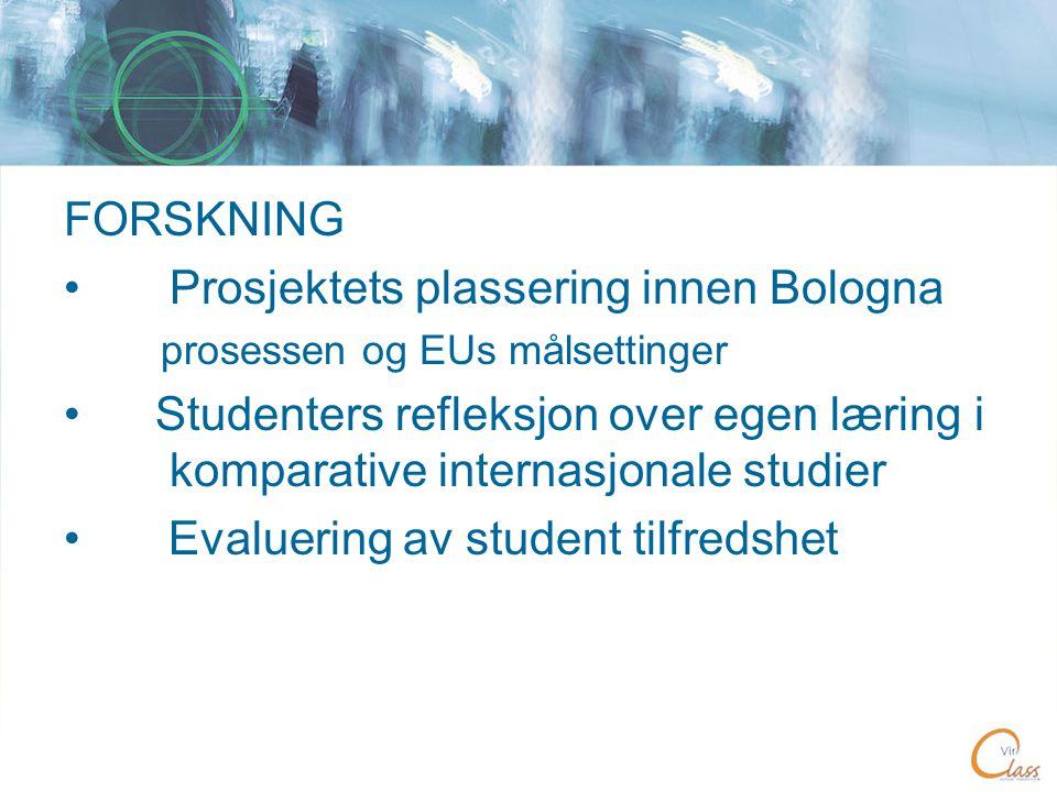 FORSKNING •Prosjektets plassering innen Bologna prosessen og EUs målsettinger • Studenters refleksjon over egen læring i komparative internasjonale studier • Evaluering av student tilfredshet