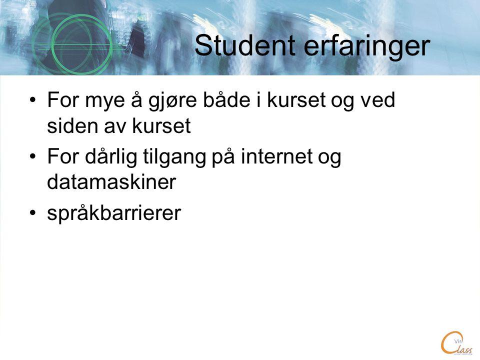 Student erfaringer •For mye å gjøre både i kurset og ved siden av kurset •For dårlig tilgang på internet og datamaskiner •språkbarrierer