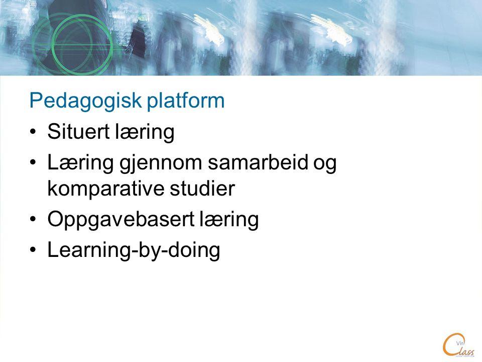 Pedagogisk platform •Situert læring •Læring gjennom samarbeid og komparative studier •Oppgavebasert læring •Learning-by-doing