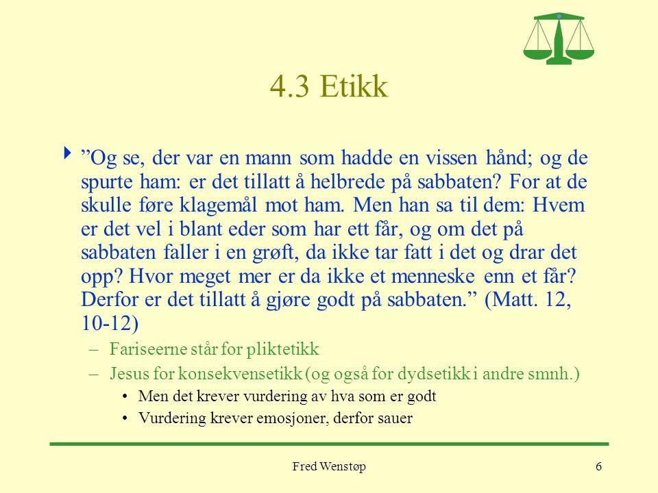 """Fred Wenstøp6 4.3 Etikk  """"Og se, der var en mann som hadde en vissen hånd; og de spurte ham: er det tillatt å helbrede på sabbaten? For at de skulle"""