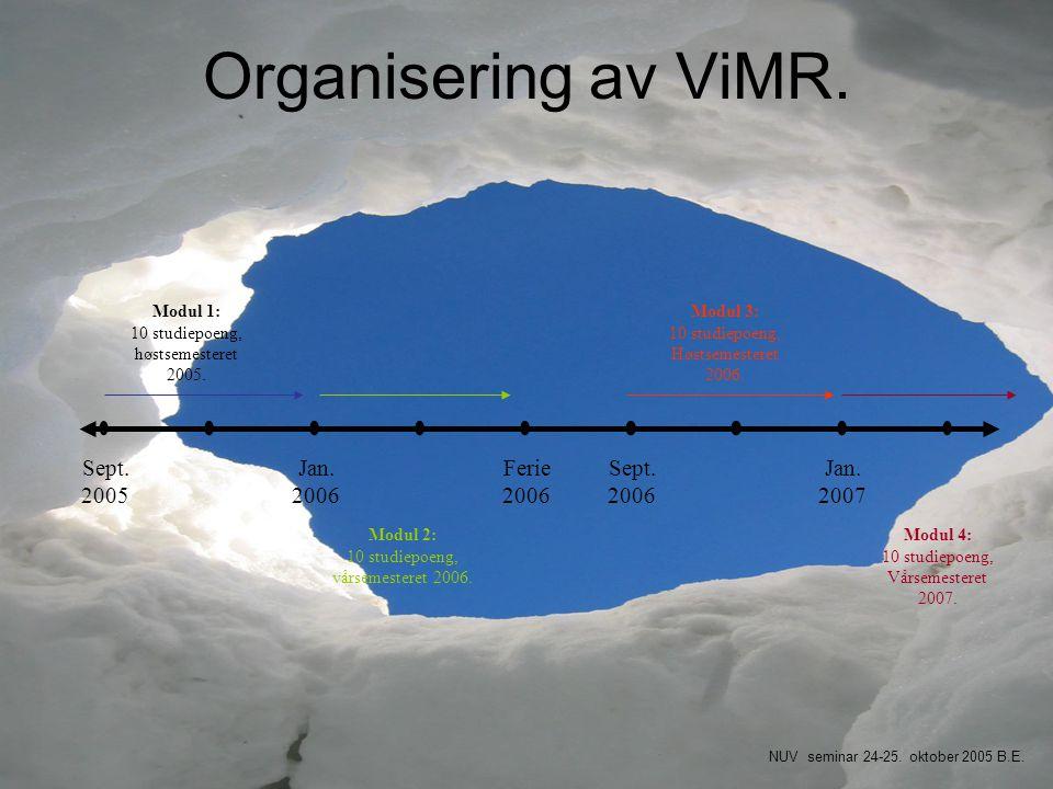 Organisering av ViMR. Sept. 2005 Jan. 2006 Ferie 2006 Sept. 2006 Jan. 2007 Modul 1: 10 studiepoeng, høstsemesteret 2005. Modul 2: 10 studiepoeng, vårs