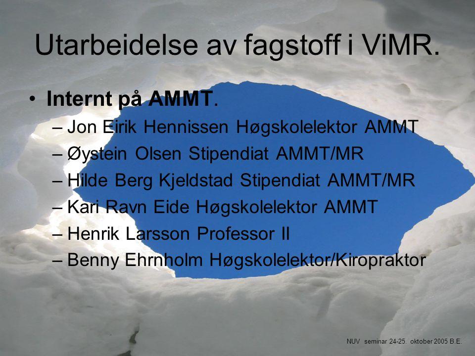 Utarbeidelse av fagstoff i ViMR. •Internt på AMMT. –Jon Eirik Hennissen Høgskolelektor AMMT –Øystein Olsen Stipendiat AMMT/MR –Hilde Berg Kjeldstad St