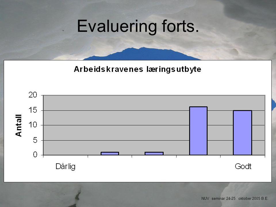 Evaluering forts. NUV seminar 24-25. oktober 2005 B.E.