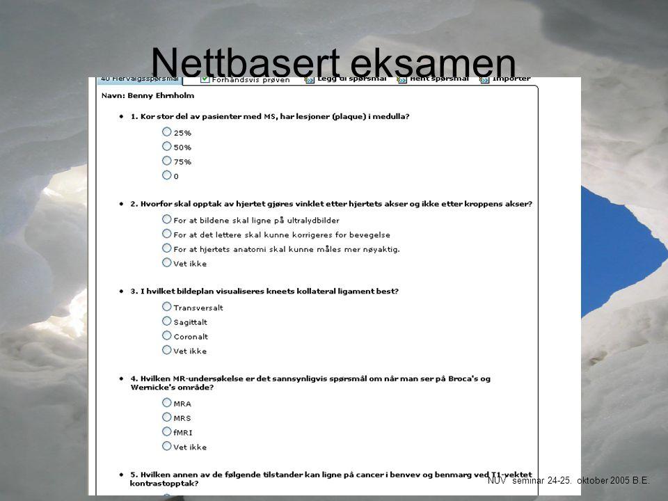 Nettbasert eksamen NUV seminar 24-25. oktober 2005 B.E.