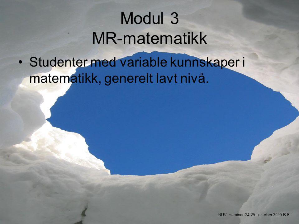 Modul 3 MR-matematikk •Studenter med variable kunnskaper i matematikk, generelt lavt nivå. NUV seminar 24-25. oktober 2005 B.E.