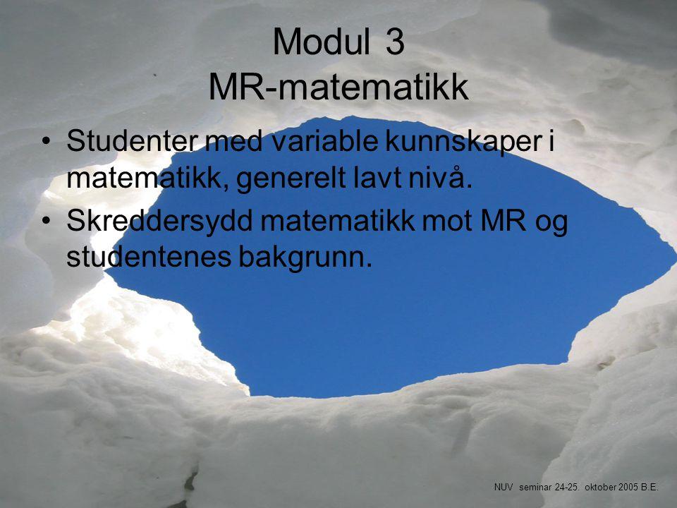 Modul 3 MR-matematikk •Studenter med variable kunnskaper i matematikk, generelt lavt nivå. •Skreddersydd matematikk mot MR og studentenes bakgrunn. NU
