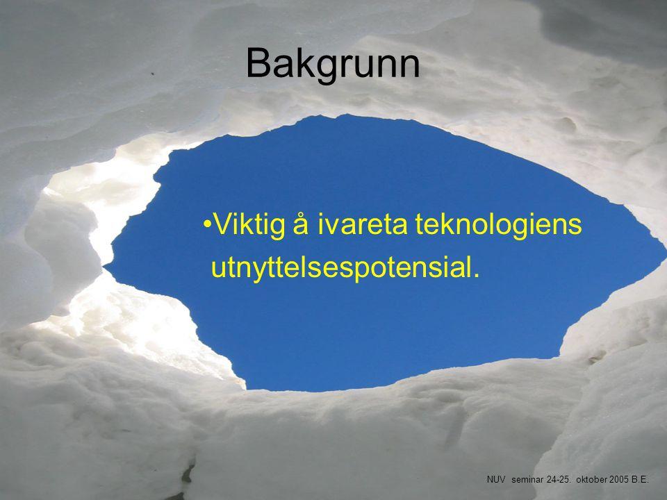 Bakgrunn •Viktig å ivareta teknologiens utnyttelsespotensial. NUV seminar 24-25. oktober 2005 B.E.