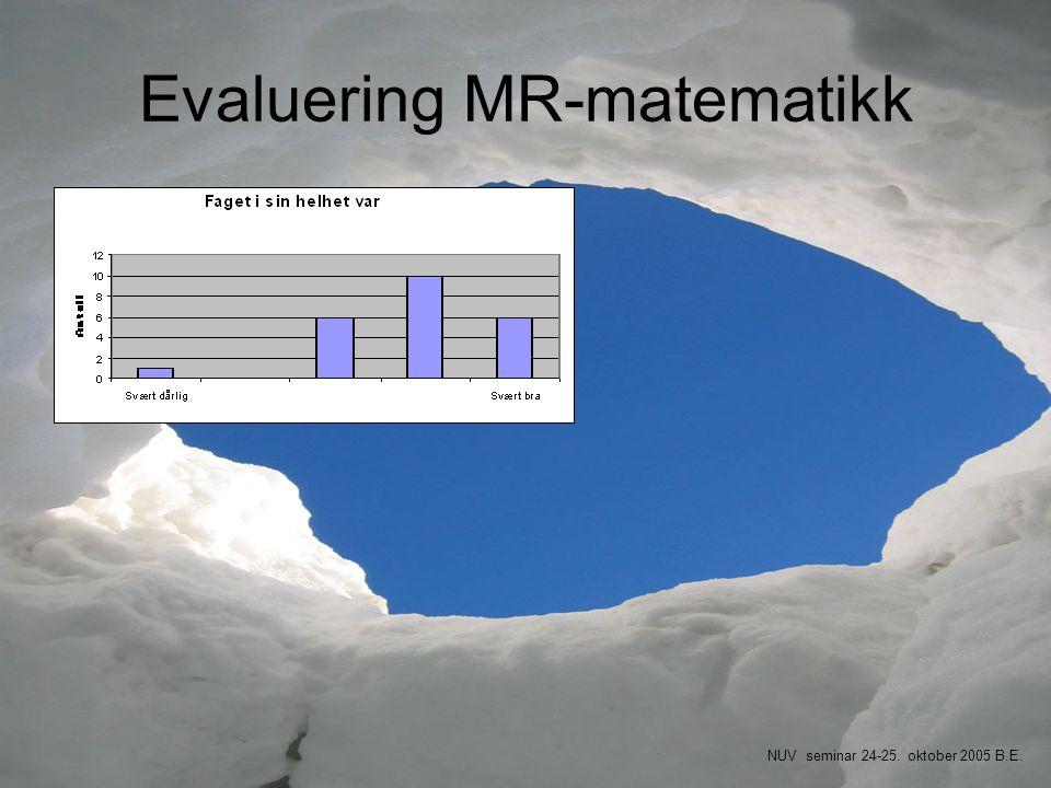Evaluering MR-matematikk NUV seminar 24-25. oktober 2005 B.E.