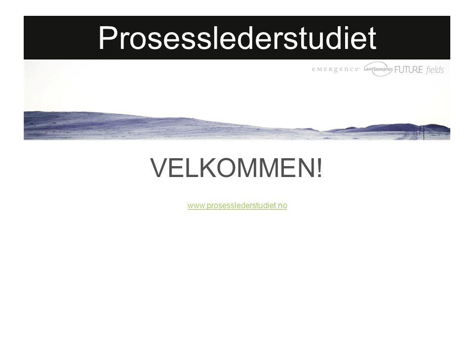 VELKOMMEN! www.prosesslederstudiet.no Prosesslederstudiet