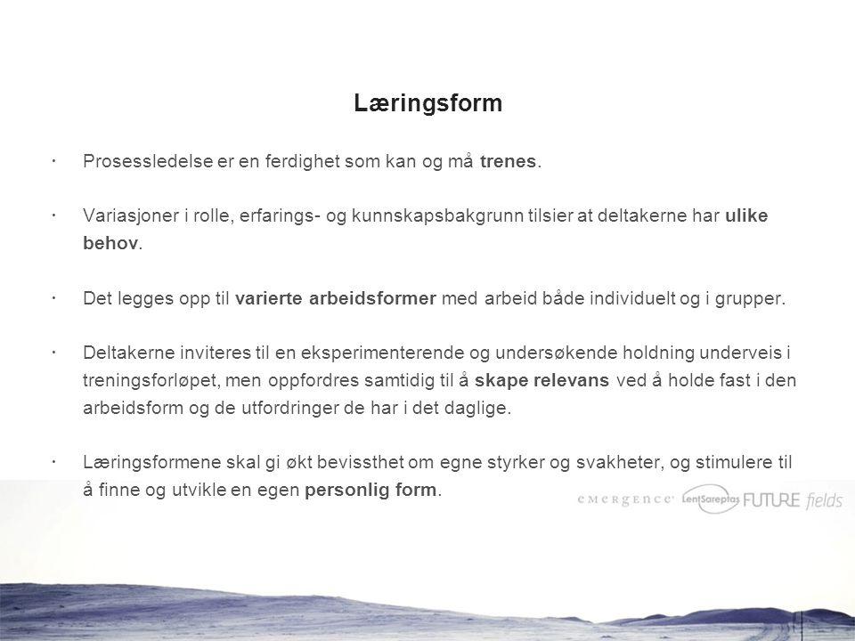 www.prosesslederstudiet.no Læringsform  Prosessledelse er en ferdighet som kan og må trenes.