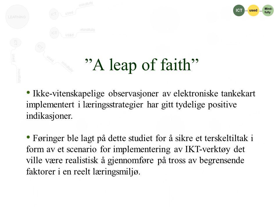 A leap of faith • Ikke-vitenskapelige observasjoner av elektroniske tankekart implementert i læringsstrategier har gitt tydelige positive indikasjoner.