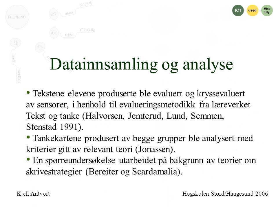 Datainnsamling og analyse • Tekstene elevene produserte ble evaluert og kryssevaluert av sensorer, i henhold til evalueringsmetodikk fra læreverket Tekst og tanke (Halvorsen, Jemterud, Lund, Semmen, Stenstad 1991).