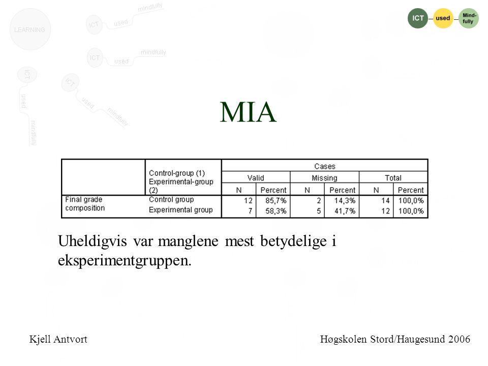 MIA Uheldigvis var manglene mest betydelige i eksperimentgruppen.