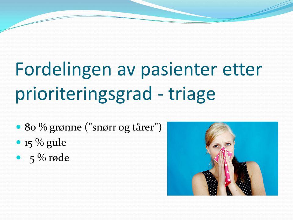 """Fordelingen av pasienter etter prioriteringsgrad - triage  80 % grønne (""""snørr og tårer"""")  15 % gule  5 % røde"""