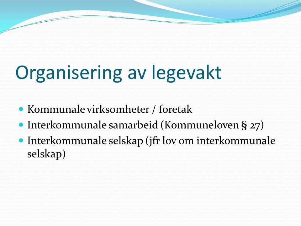 Organisering av legevakt  Kommunale virksomheter / foretak  Interkommunale samarbeid (Kommuneloven § 27)  Interkommunale selskap (jfr lov om interk