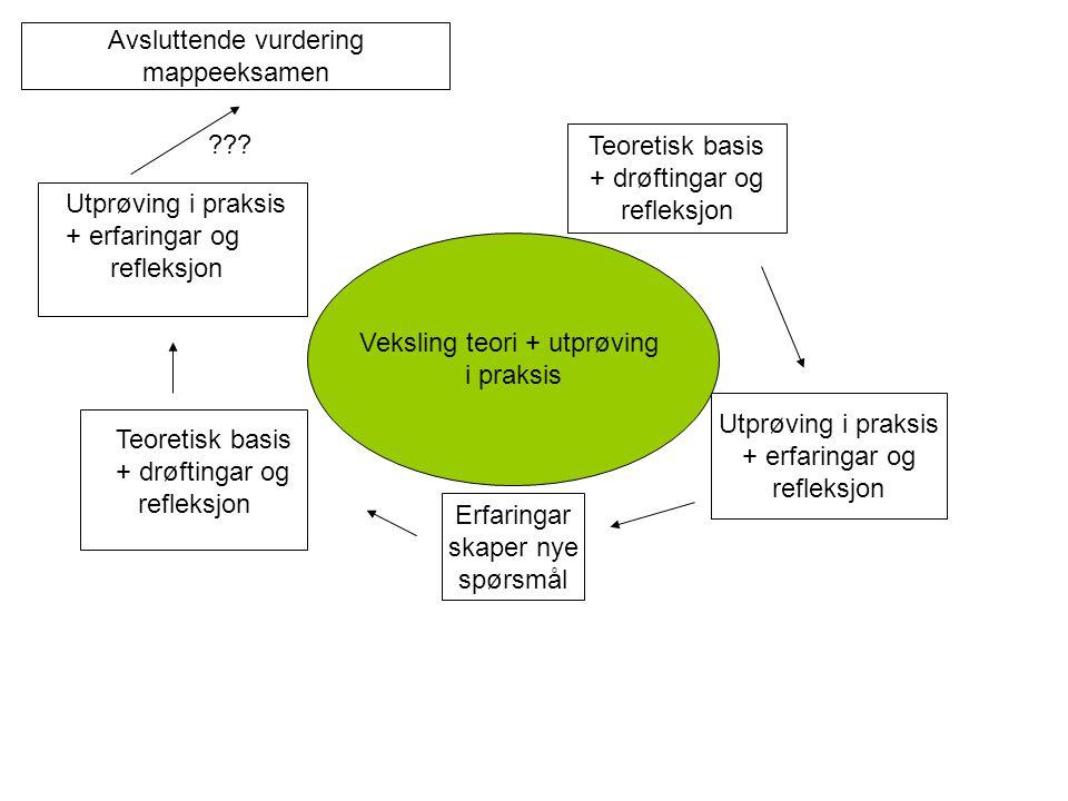 Veksling teori + utprøving i praksis Teoretisk basis + drøftingar og refleksjon Utprøving i praksis + erfaringar og refleksjon Erfaringar skaper nye spørsmål Teoretisk basis + drøftingar og refleksjon Utprøving i praksis + erfaringar og refleksjon Avsluttende vurdering mappeeksamen ???