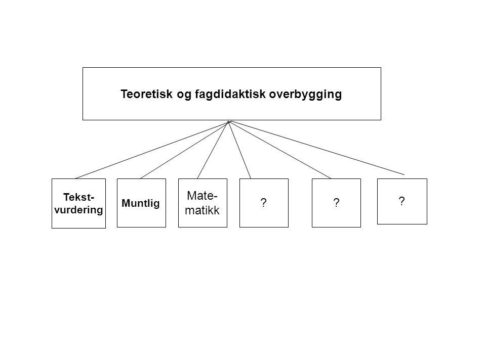 Teoretisk og fagdidaktisk overbygging Muntlig Mate- matikk Tekst- vurdering
