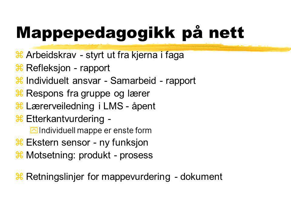Formål med mappe/portefolie Vurdering har tre hovudfunksjonar: 1)å danne grunnlag for utveljing og eventuell sertifisering, anten i vidare utdanningss