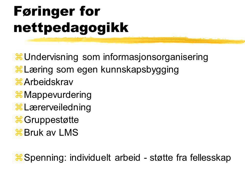 Vår form for for nettundervisning zIKT og læring; Andre halvårsenhet zModul: E-læring, 12 studiepoeng yhttp://klasserom.hinesna.no/course/view.php ?id