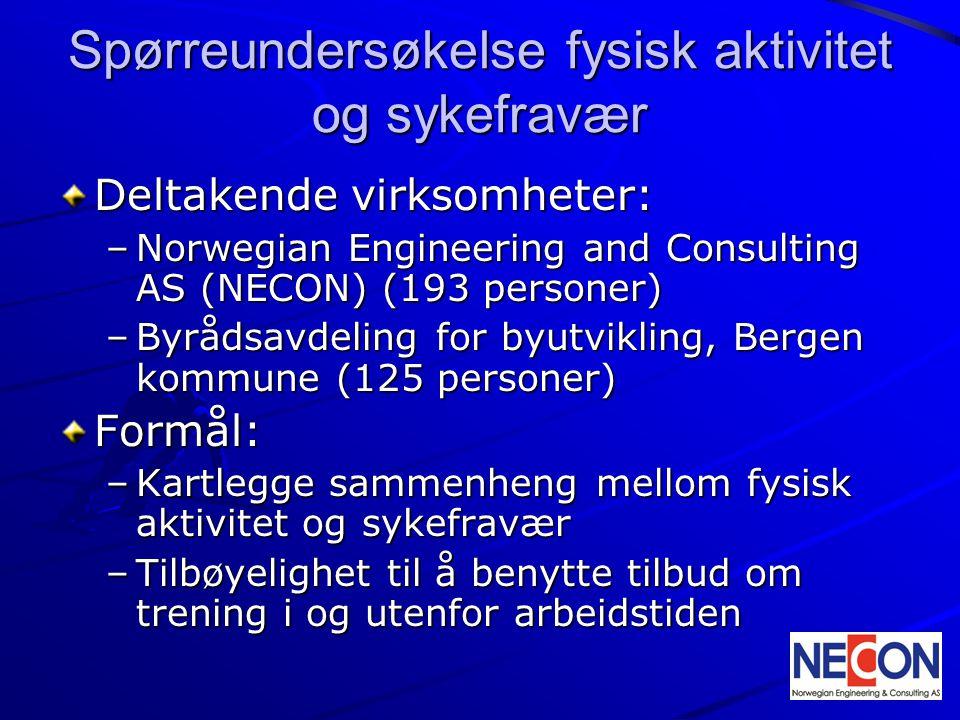 Spørreundersøkelse fysisk aktivitet og sykefravær Deltakende virksomheter: –Norwegian Engineering and Consulting AS (NECON) (193 personer) –Byrådsavde