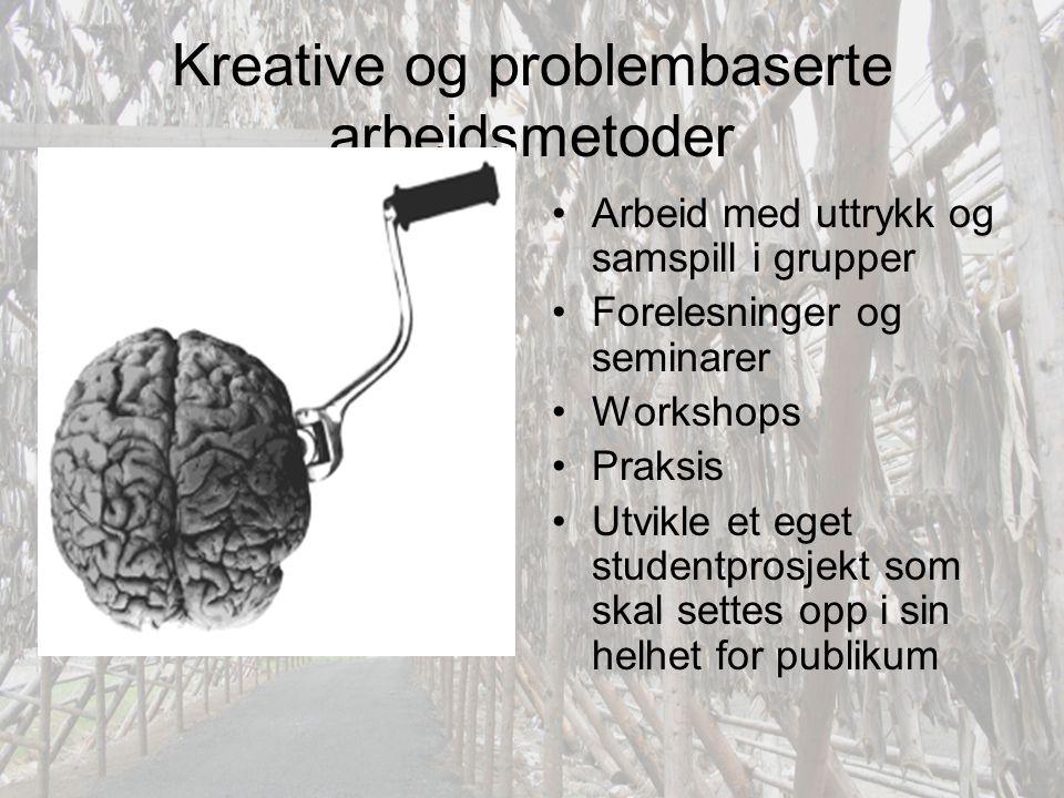 Kreative og problembaserte arbeidsmetoder •Arbeid med uttrykk og samspill i grupper •Forelesninger og seminarer •Workshops •Praksis •Utvikle et eget s