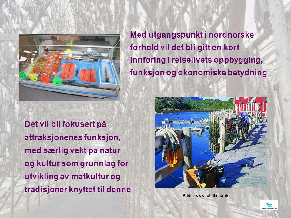 Med utgangspunkt i nordnorske forhold vil det bli gitt en kort innføring i reiselivets oppbygging, funksjon og økonomiske betydning Det vil bli fokuse