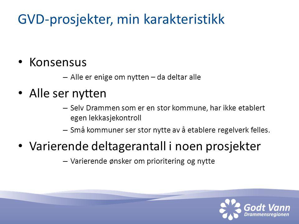 GVD-prosjekter, min karakteristikk • Konsensus – Alle er enige om nytten – da deltar alle • Alle ser nytten – Selv Drammen som er en stor kommune, har ikke etablert egen lekkasjekontroll – Små kommuner ser stor nytte av å etablere regelverk felles.