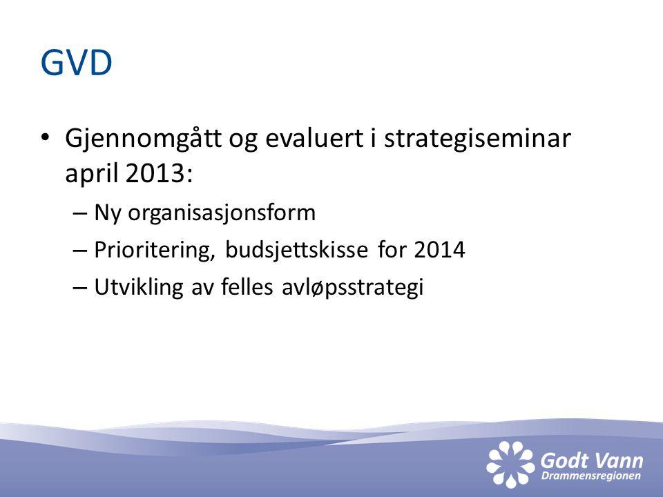 GVD • Gjennomgått og evaluert i strategiseminar april 2013: – Ny organisasjonsform – Prioritering, budsjettskisse for 2014 – Utvikling av felles avløpsstrategi