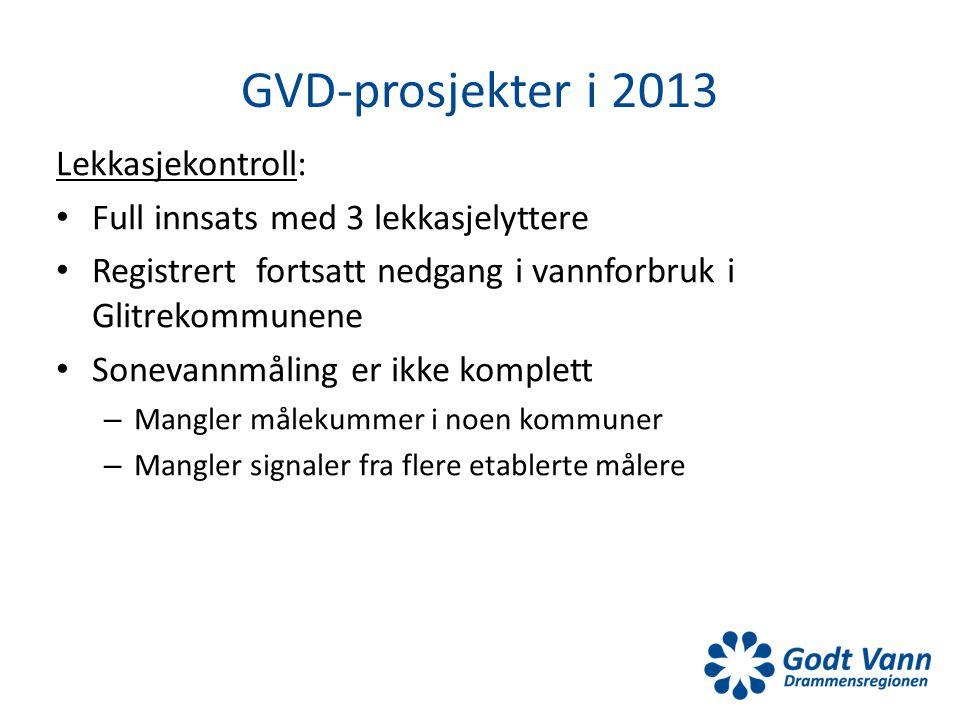 GVD-prosjekter i 2013 Lekkasjekontroll: • Full innsats med 3 lekkasjelyttere • Registrert fortsatt nedgang i vannforbruk i Glitrekommunene • Sonevannm