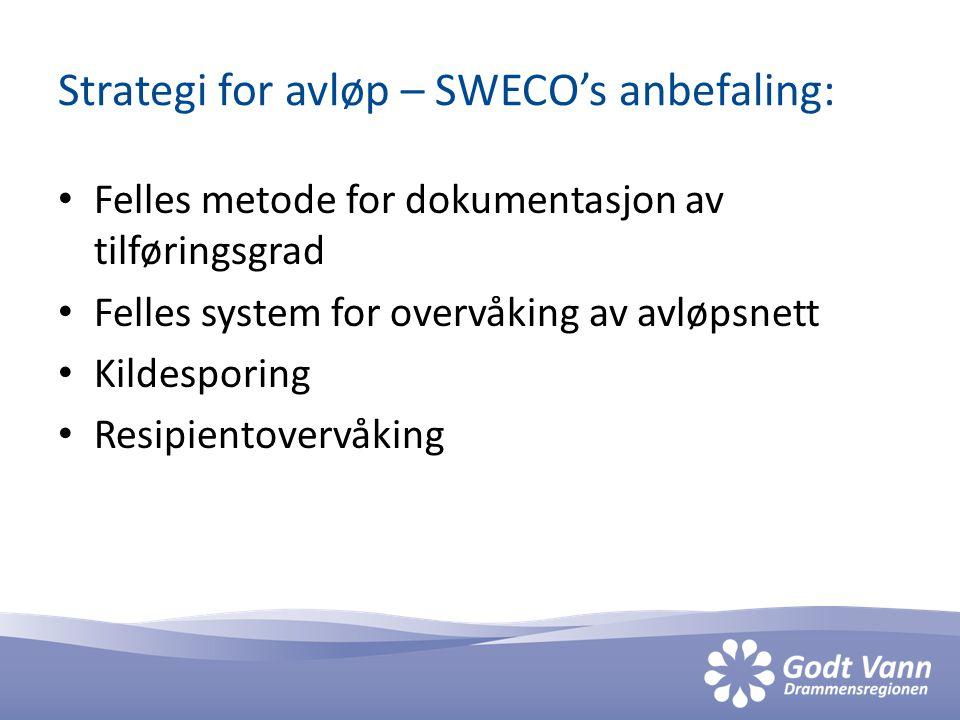 Strategi for avløp – SWECO's anbefaling: • Felles metode for dokumentasjon av tilføringsgrad • Felles system for overvåking av avløpsnett • Kildesporing • Resipientovervåking