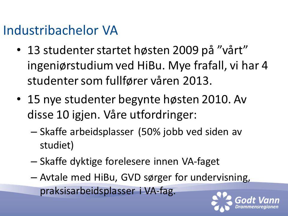 """Industribachelor VA • 13 studenter startet høsten 2009 på """"vårt"""" ingeniørstudium ved HiBu. Mye frafall, vi har 4 studenter som fullfører våren 2013. •"""
