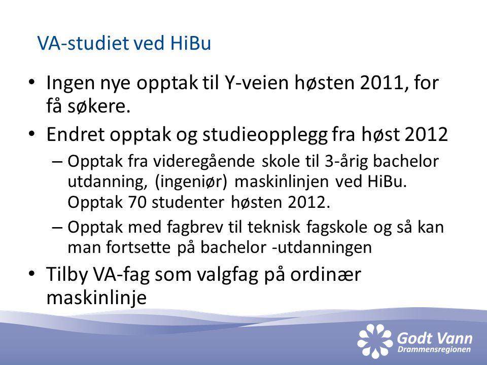 VA-studiet ved HiBu • Ingen nye opptak til Y-veien høsten 2011, for få søkere.