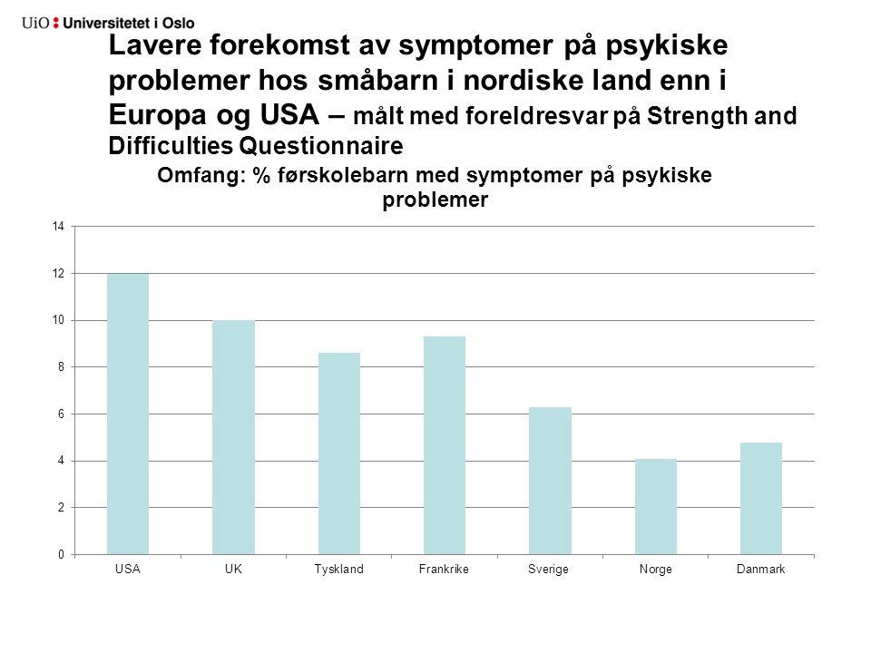 Lavere forekomst av symptomer på psykiske problemer hos småbarn i nordiske land enn i Europa og USA – målt med foreldresvar på Strength and Difficulti