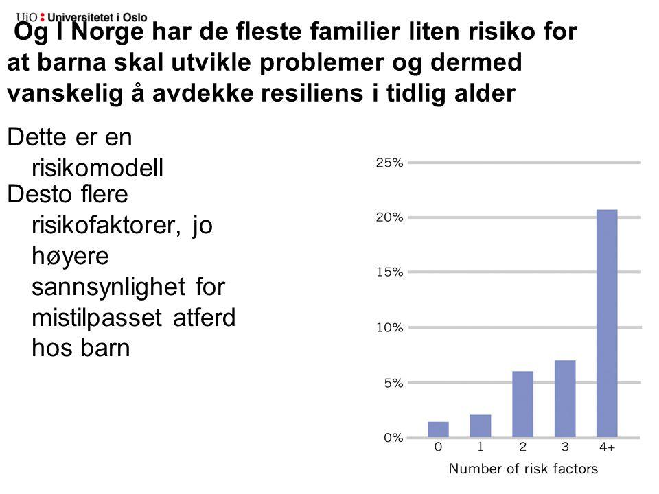 Og I Norge har de fleste familier liten risiko for at barna skal utvikle problemer og dermed vanskelig å avdekke resiliens i tidlig alder Dette er en