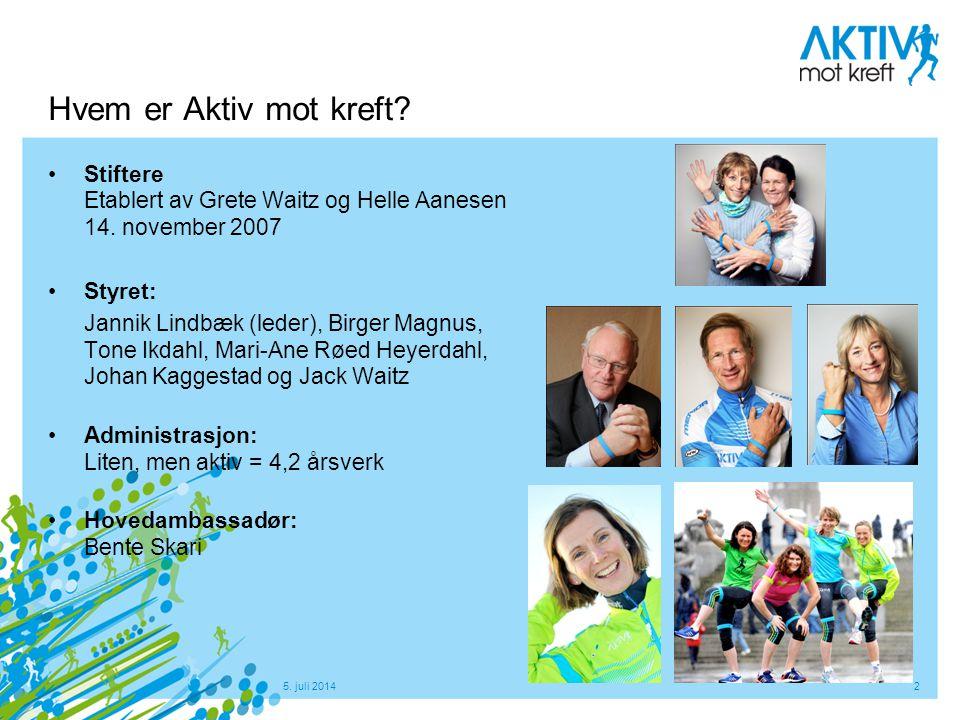 5. juli 20142 Hvem er Aktiv mot kreft? •Stiftere Etablert av Grete Waitz og Helle Aanesen 14. november 2007 •Styret: Jannik Lindbæk (leder), Birger Ma