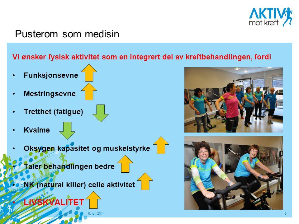 5. juli 20145 Pusterom som medisin Vi ønsker fysisk aktivitet som en integrert del av kreftbehandlingen, fordi •Funksjonsevne •Mestringsevne •Tretthet