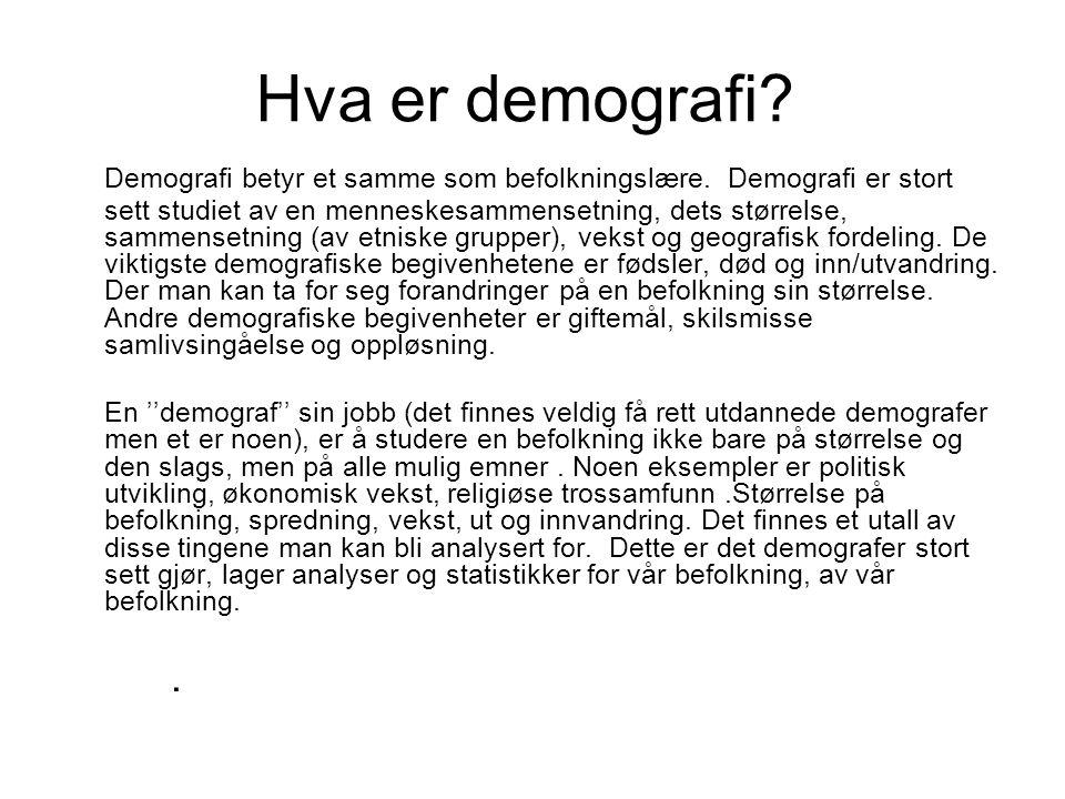 Hva er demografi.Demografi betyr et samme som befolkningslære.