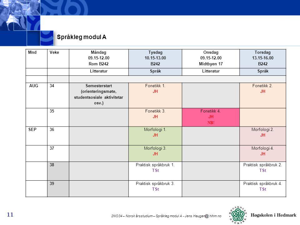 2NO34 – Norsk årsstudium – Språkleg modul A - Jens.Haugan hihm.no 11 Språkleg modul A MndVeke Måndag 09.15-12.00 Rom B242 Tysdag 10.15-13.00 B242 Onsdag 09.15-12.00 Midtbyen 17 Torsdag 13.15-16.00 B242 LitteraturSpråkLitteraturSpråk AUG34 Semesterstart (orienteringsmøte, studentsosiale aktivitetar osv.) Fonetikk 1.