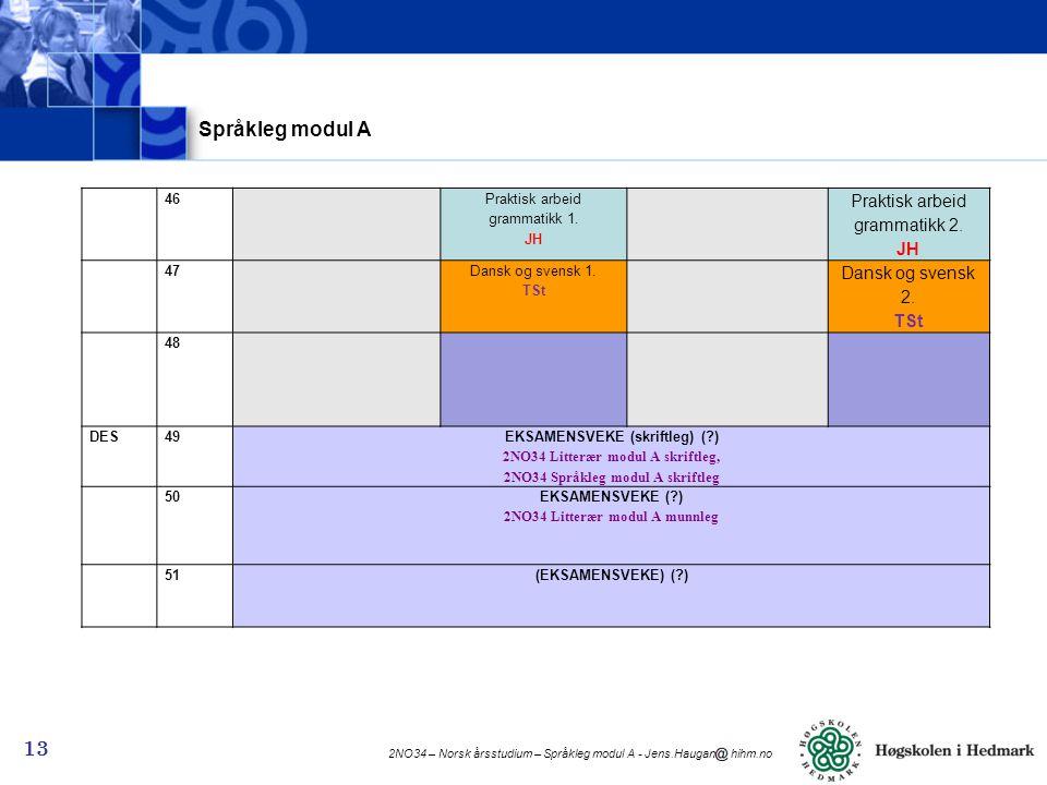 2NO34 – Norsk årsstudium – Språkleg modul A - Jens.Haugan hihm.no 13 Språkleg modul A 46 Praktisk arbeid grammatikk 1.