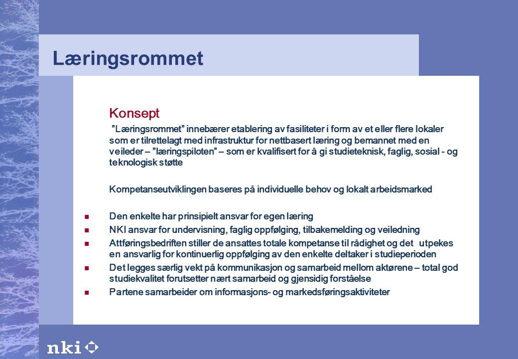"""Læringsrommet Konsept """"Læringsrommet"""" innebærer etablering av fasiliteter i form av et eller flere lokaler som er tilrettelagt med infrastruktur for n"""