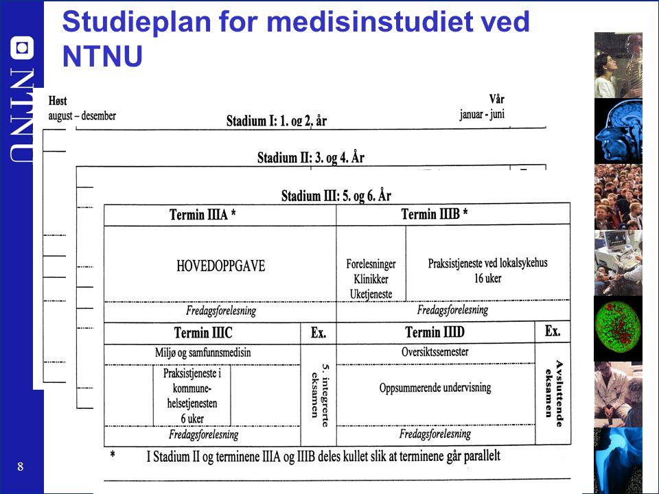8 Studieplan for medisinstudiet ved NTNU http://www.medisin.ntnu.no/