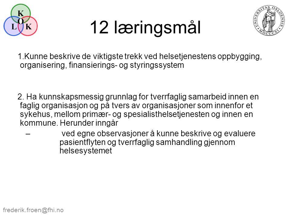 12 læringsmål 1.Kunne beskrive de viktigste trekk ved helsetjenestens oppbygging, organisering, finansierings- og styringssystem 2. Ha kunnskapsmessig