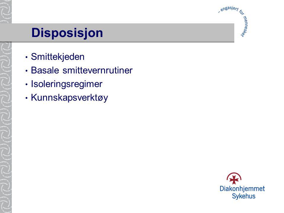 Disposisjon • Smittekjeden • Basale smittevernrutiner • Isoleringsregimer • Kunnskapsverktøy