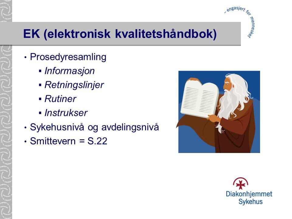 EK (elektronisk kvalitetshåndbok) • Prosedyresamling  Informasjon  Retningslinjer  Rutiner  Instrukser • Sykehusnivå og avdelingsnivå • Smittevern