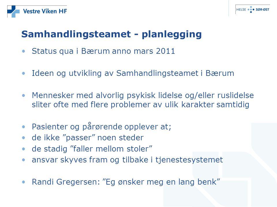 •Status qua i Bærum anno mars 2011 •Ideen og utvikling av Samhandlingsteamet i Bærum •Mennesker med alvorlig psykisk lidelse og/eller ruslidelse slite